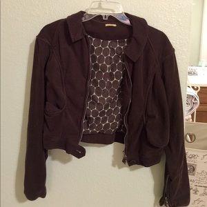 Max Studio cropped velour jacket